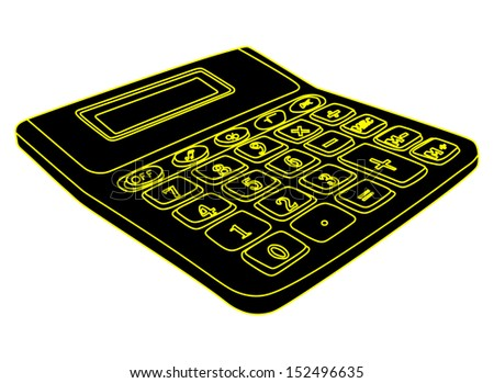 Black calculator isolated on a white background with blank screen vector.  - stock vector