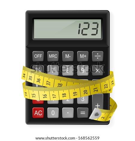 Black calculator with measuring tape as symbol of counting calories. - stock vector