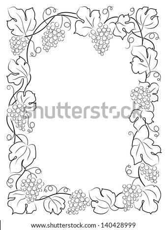 black calligraphy frame wine label vine grapes - stock vector