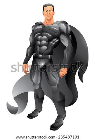 Black cape superhero isolated - stock vector