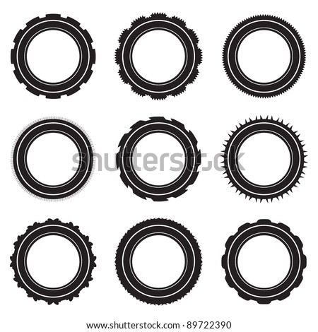 Black car tyre selection with different treads and patterns - stock vector
