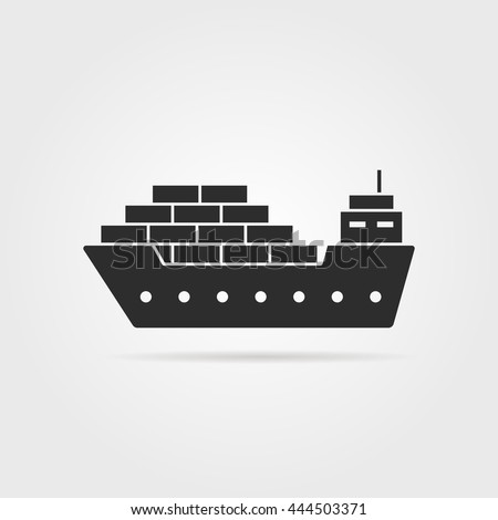 black cargo ship icon with shadow. concept of seaport emblem, voyage, shipbuilding, trip, anchor, maritime. flat style trend modern logotype template design vector illustration on gray background - stock vector