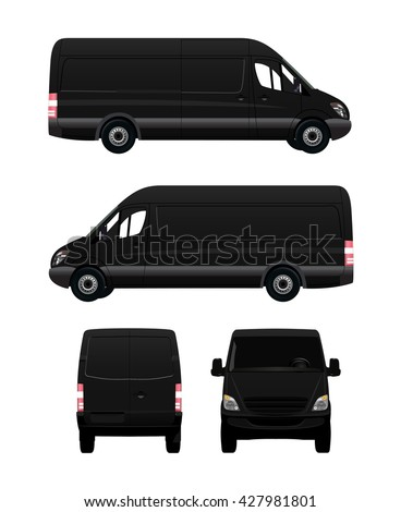 Black Cargo Van From Four View Angles