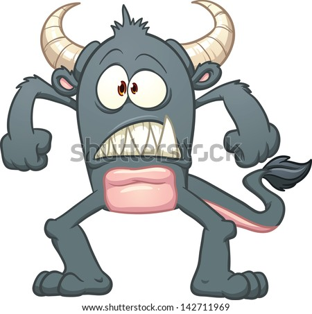 Black cartoon monster. Vector clip art illustration with simple gradients. All in a single layer.