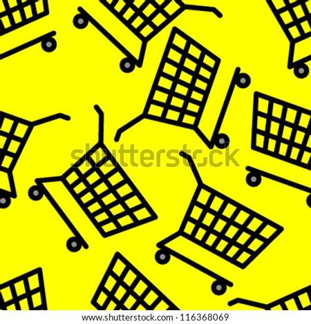 black carts on yellow seamless pattern - stock vector