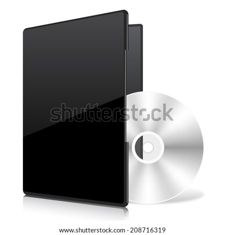 Black Case and Disk - stock vector