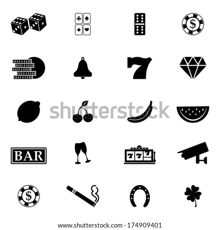 Black casino icons set - stock vector