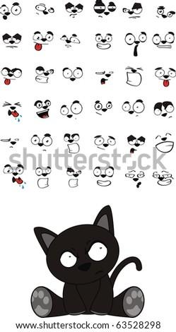 black cat cartoon set in vector format - stock vector