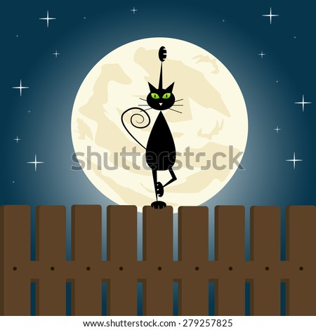 Black cat doing yoga on a fence. - stock vector