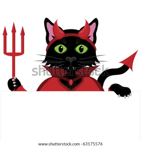 Black cat dressed as a Devil for Halloween peeping over the top of a blank sign. - stock vector