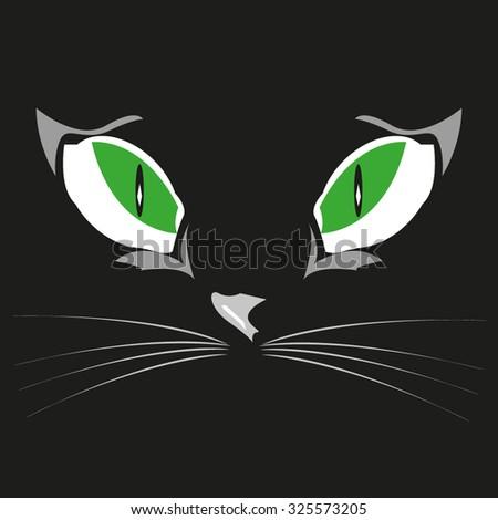 Black cat eye on the black background, design element - stock vector