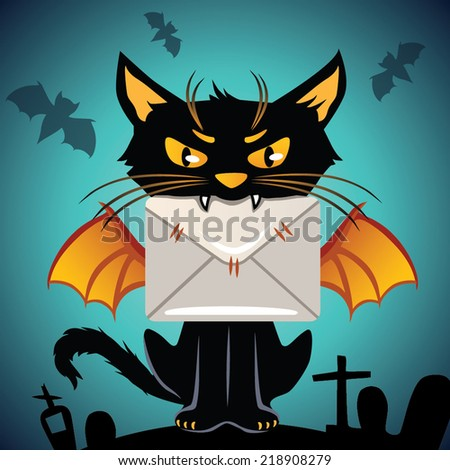 Black cat. Halloween - stock vector