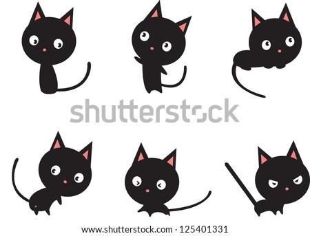 black cat in various actions - stock vector