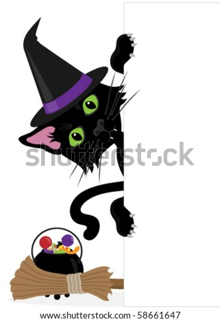 Black cat in witches hat peeping around the side of a blank sign(white rectangle)with broomstick & cauldron filled with candy. They are grouped so could be put on the side of any rectangular shape. - stock vector