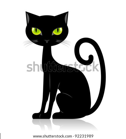 Black cat isolated on white background - stock vector