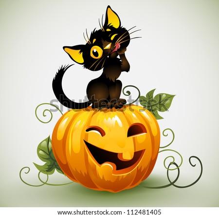 Black cat on pumpkin. - stock vector
