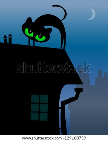 Black Cat on roof, vector illustration - stock vector