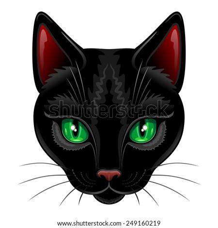 Black Cat Portrait on White - stock vector