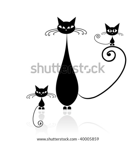 Black cat silhouette for your design - stock vector