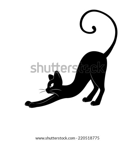 Black cat silhouette. Hand drawing illustration isolated on white background.