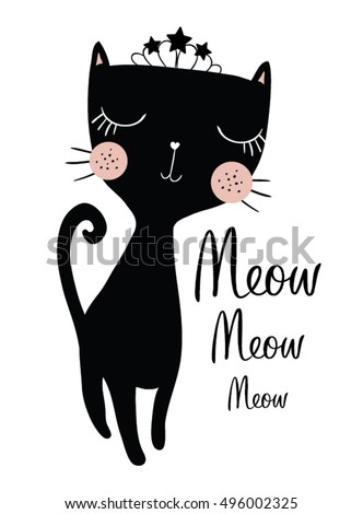 Black Cat Vector/Book illustrations for children/T-shirt Graphic/Romantic hand drawing poster/cartoon character/children art/Loving princess/For apparel or other uses,in vector.