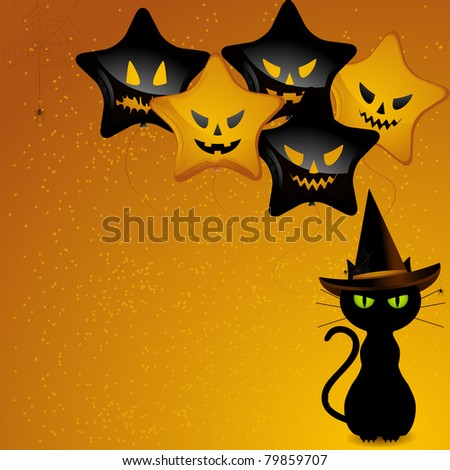 Black cat wearing witches hat sat in front of orange and black balloons with scary faces - stock vector