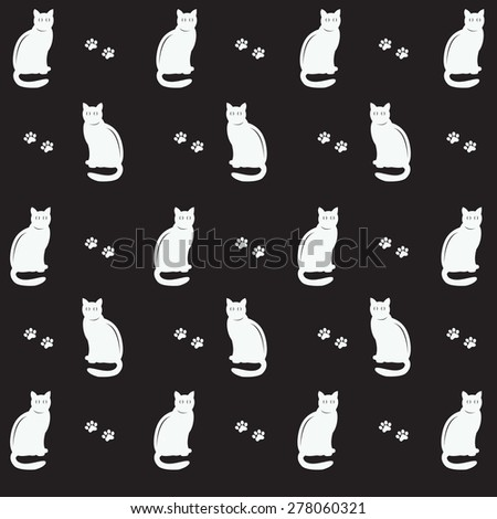Black cats and footsteps, vector illustration - stock vector