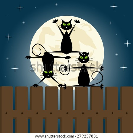Black cats doing yoga on a fence. - stock vector