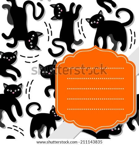 black cats holiday seamless pattern on white background with retro shaped orange frame and gray ribbon holiday card