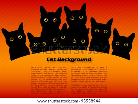 black cats on the red background
