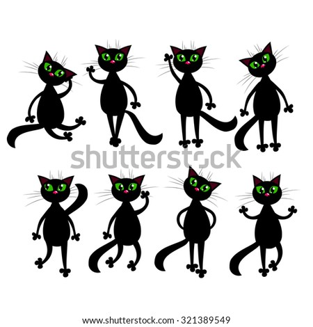 Black cats set illustration. Animal flat cartoon collection. Vector objects. - stock vector