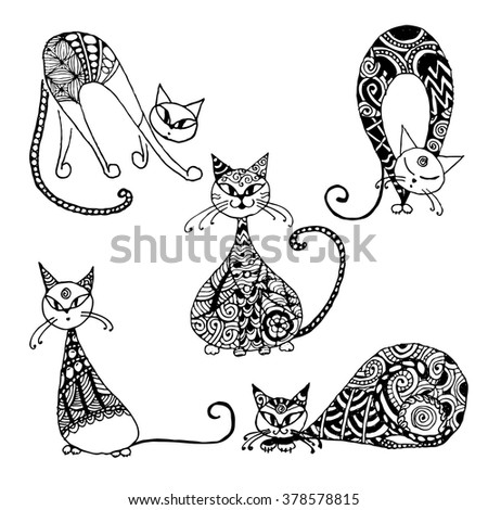 Black cats, zentangle style for your design - stock vector