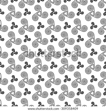 Black celtic triskels vector seamless pattern - stock vector