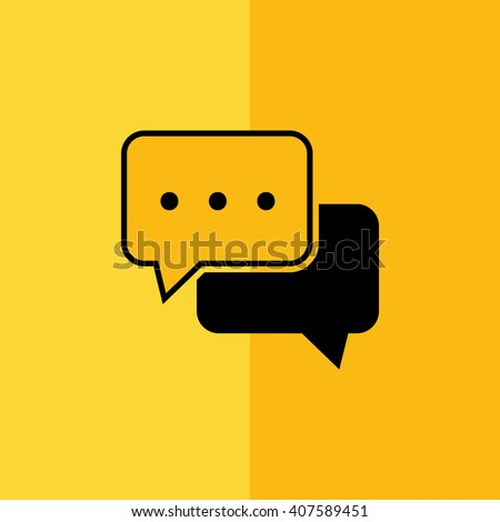 Black chat vector icon. Yellow background - stock vector