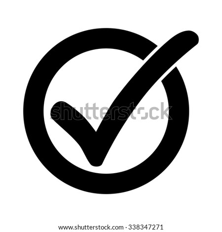 Black check mark or tick icon in a circle isolated on white background - stock vector