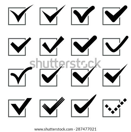 Black check marks in boxes. Vector illustration. Isolated on white background. Set - stock vector