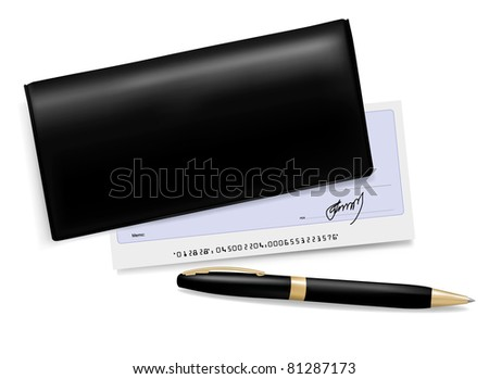 Black checkbook with check and pen. Vector illustration. - stock vector