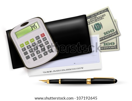 Black checkbook with check, calculator and dollars. Vector illustration. - stock vector