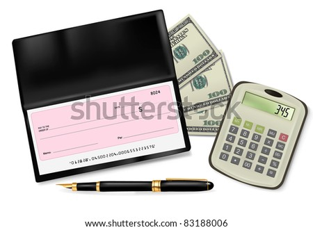 Black checkbook with check, calculator and dollars. Vector illustration.