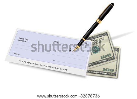 Black checkbook with check, pen and dollars. Vector illustration. - stock vector