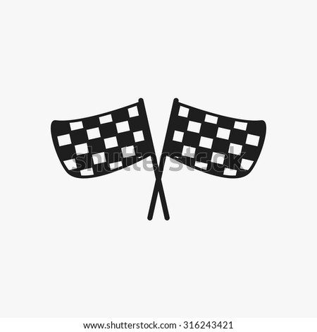Black checkered flags icons set. Vector Illustration eps10.  - stock vector