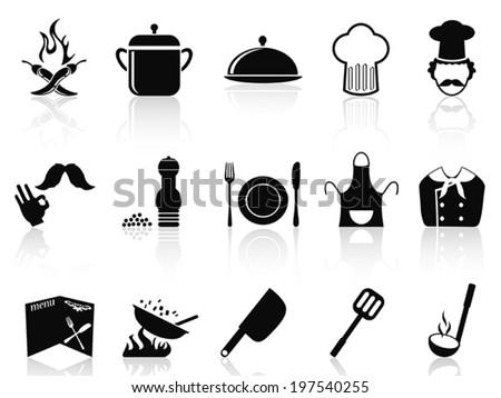 black chef icons set - stock vector