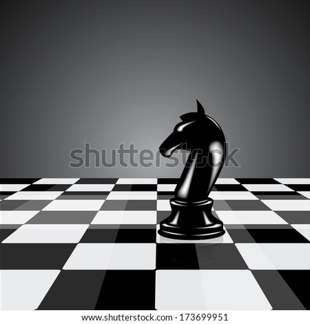 Black chess knight on background  - stock vector