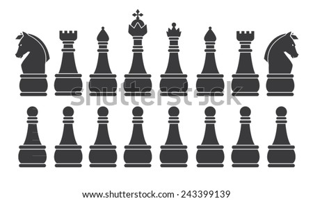 Black Chess Set, symbol, icon, graphic, vector .