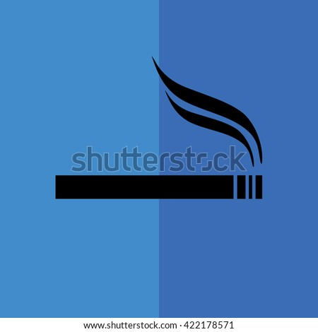 Black cigarette vector icon. Allowed smoking sign. Blue background - stock vector