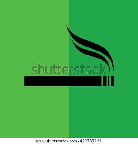 Black cigarette vector icon. Allowed smoking sign. Green background - stock vector
