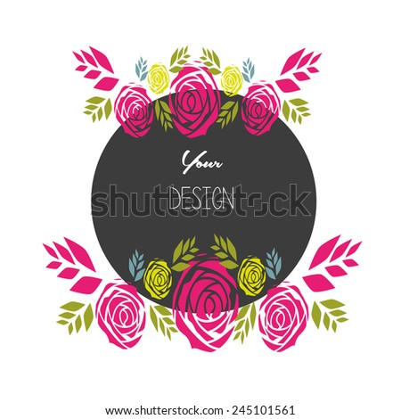 black Circle,banners, floral frames - stock vector