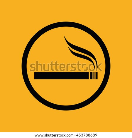 Black circle cigarette vector icon. Allowed smoking sign. Yellow background - stock vector
