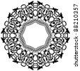Black circle frame with ornamental border - stock vector