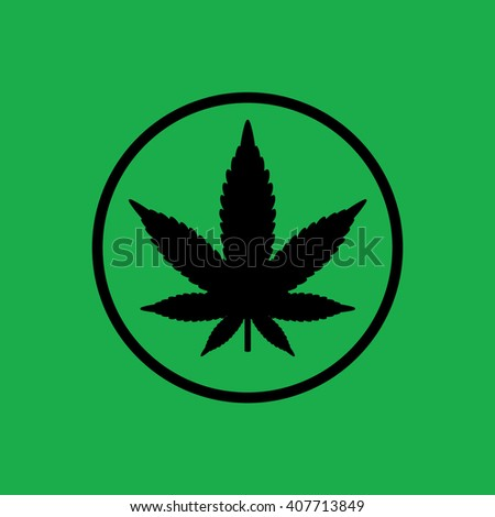 Black circle marijuana leaf vector icon. Green background - stock vector